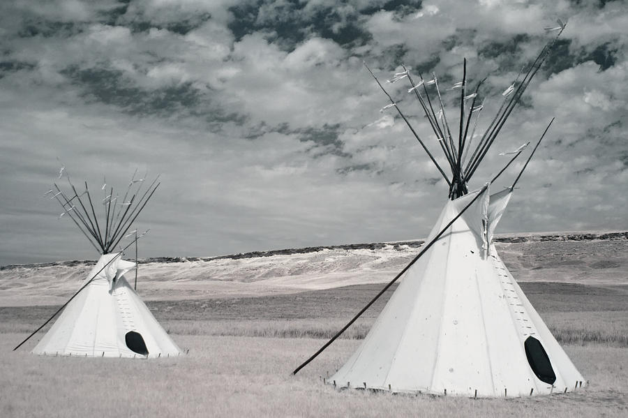 Infrared Image Of Native American Tipis Photograph  - Infrared Image Of Native American Tipis Fine Art Print