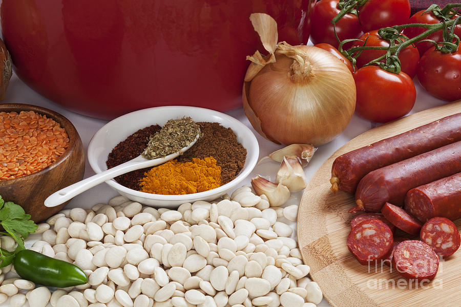 Ingredients For Spanish Chorizo Soup Photograph  - Ingredients For Spanish Chorizo Soup Fine Art Print