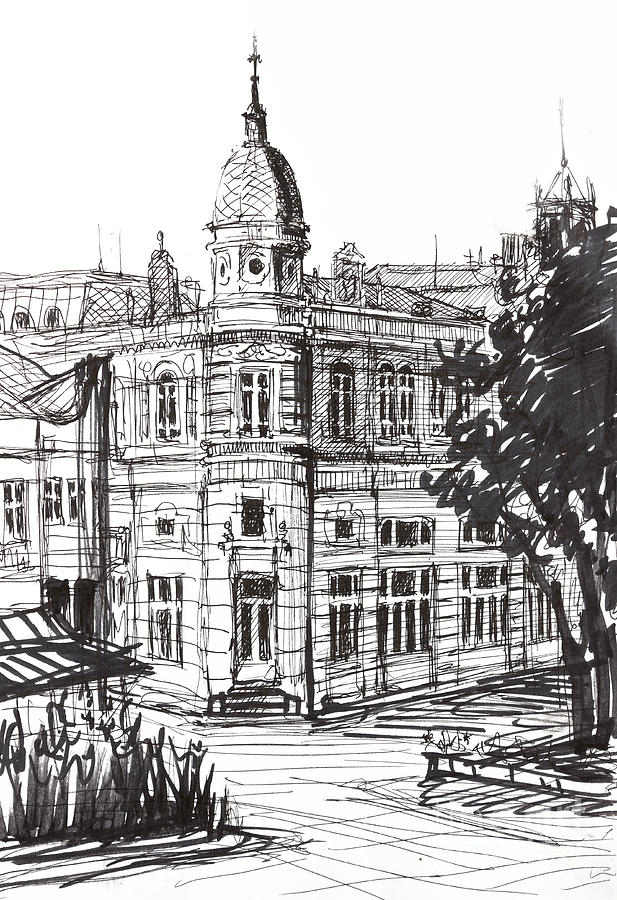 Ink Graphics Of An Old Building In Bulgaria Drawing