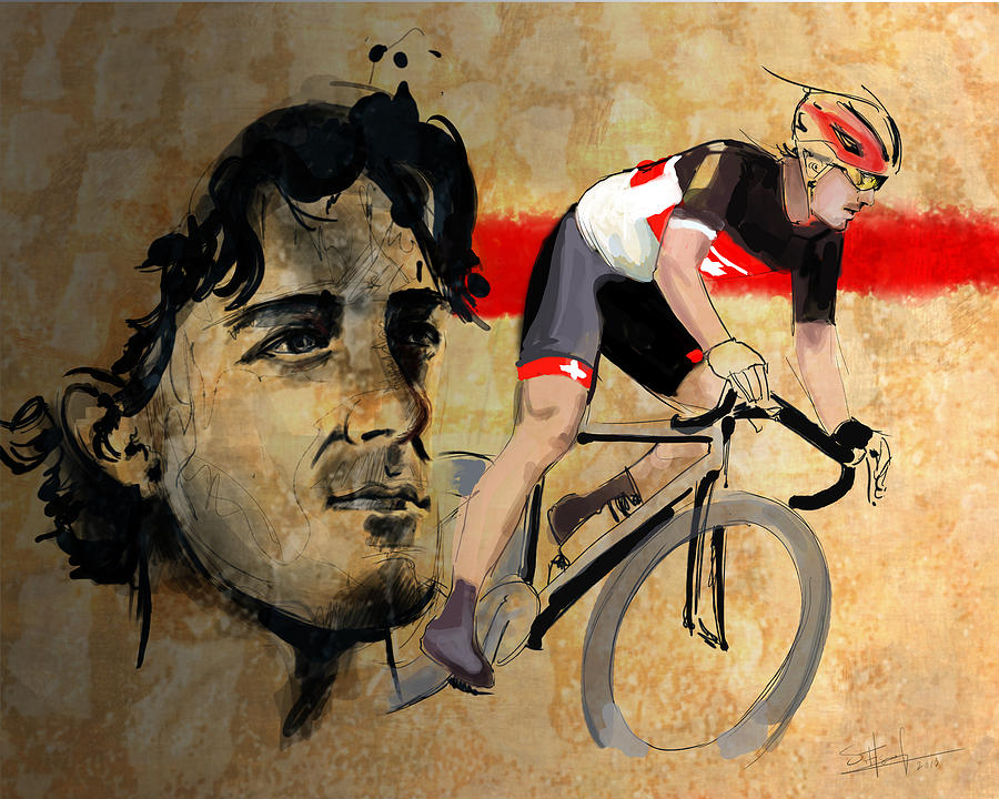 Ink Portrait Illustration Print Of Cycling Athlete Fabian Cancellara Digital Art