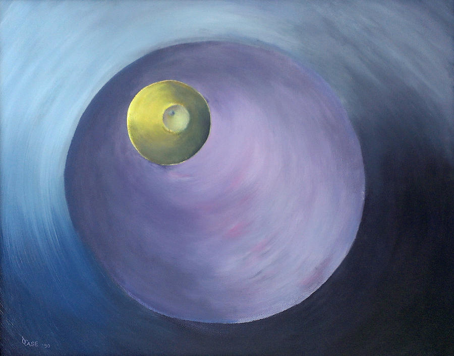 Circles Spheres Inner Outer Space Blue Black Yellow Purple Shades Vase Basket Capsule Floating  Painting - Inner Outer Space by Douglas Case