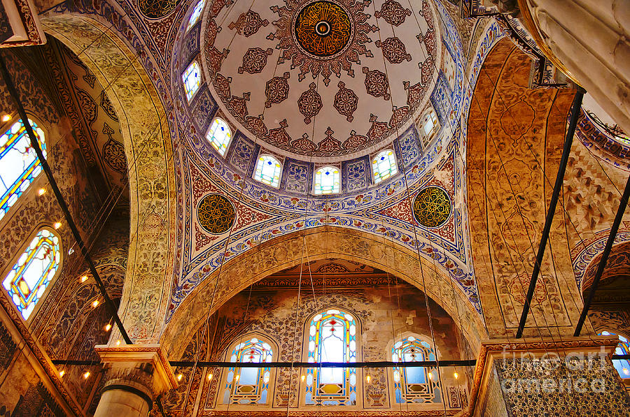 Architecture Photograph - Inside The Blue Mosque by MaryJane Armstrong
