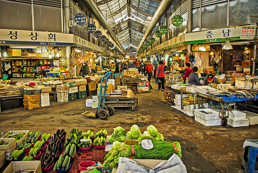 Market Photograph - Inside The Gyeongdong Market At Seoul by Tony Crehan