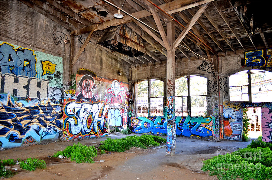 Destroyed Photograph - Inside The Old Train Roundhouse At Bayshore Near San Francisco And The Cow Palace II by Jim Fitzpatrick