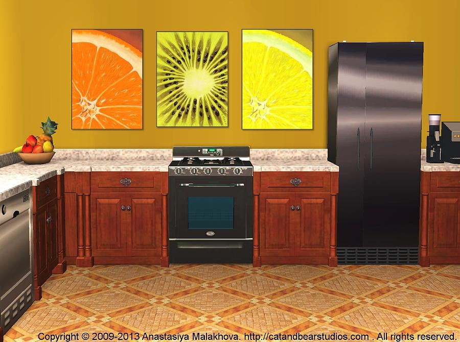Interior Design Idea - Sweet Orange - Kiwi - Lemon Digital Art