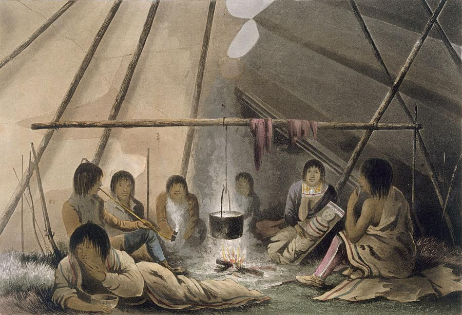 Interior Of A Cree Indian Tent, 1824 Drawing