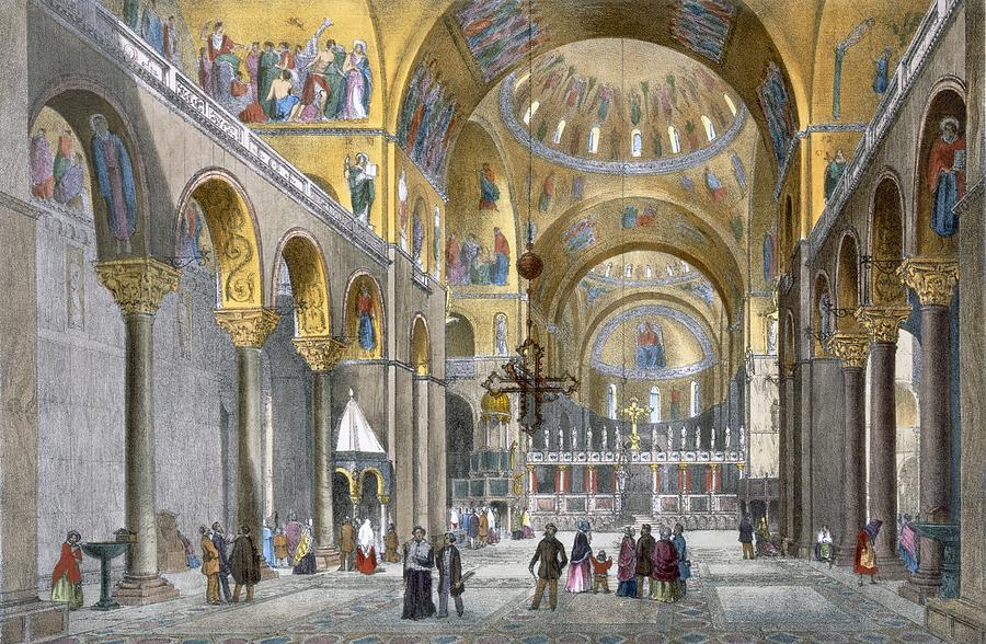 Architecture Drawing - Interior Of San Marco Basilica, Looking by Italian School