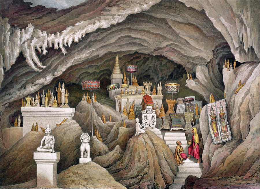 Buddhist Rock Shrine Drawing - Interior Of The Grotto Of Nam Hou by Louis Delaporte