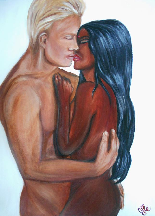 Interracial Lovers I Painting