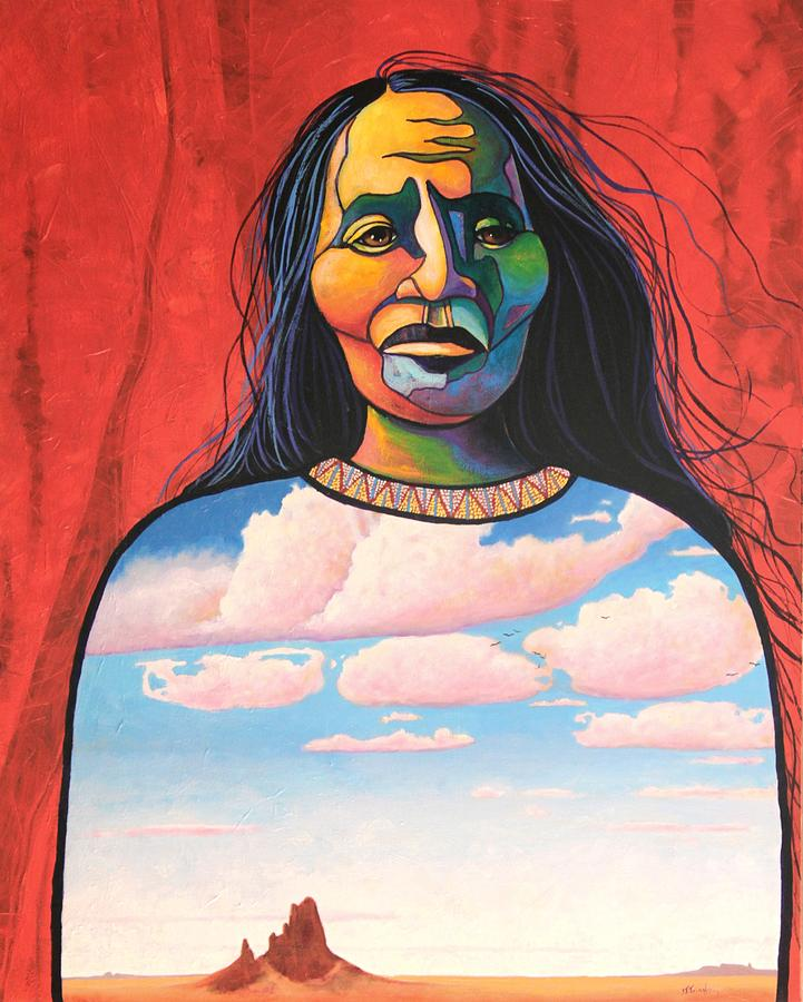 Native American Painting - Into Her Spirit by Joe  Triano