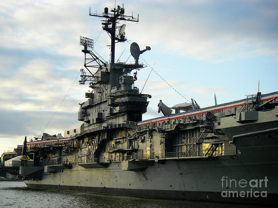 Intrepid Aircraft Carrier At Dock New York City Photograph