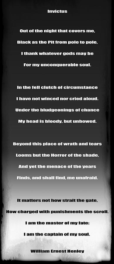 Invictus Digital Art - Invictus By William Ernest Henley by Daniel Hagerman