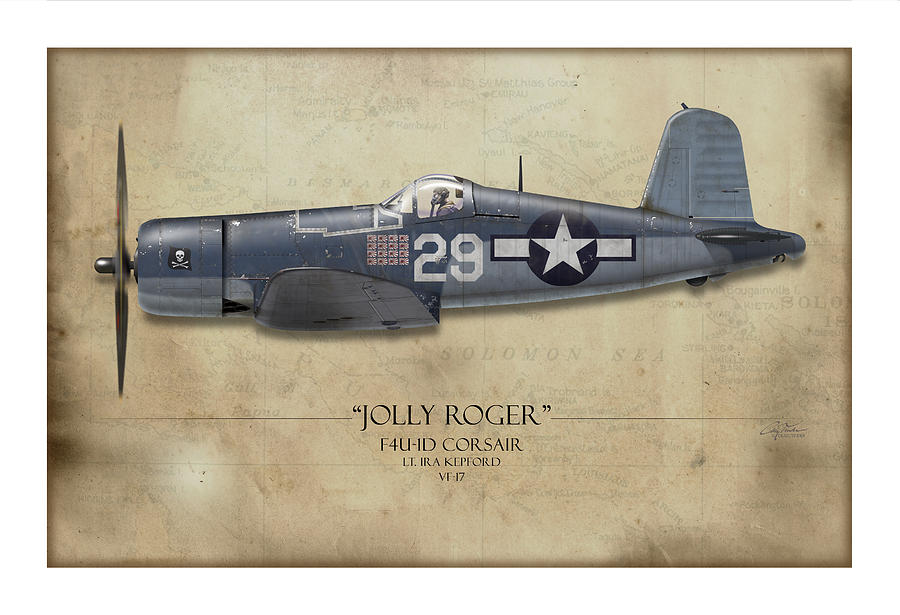 Ira Kepford F4u Corsair - Map Background Painting  - Ira Kepford F4u Corsair - Map Background Fine Art Print