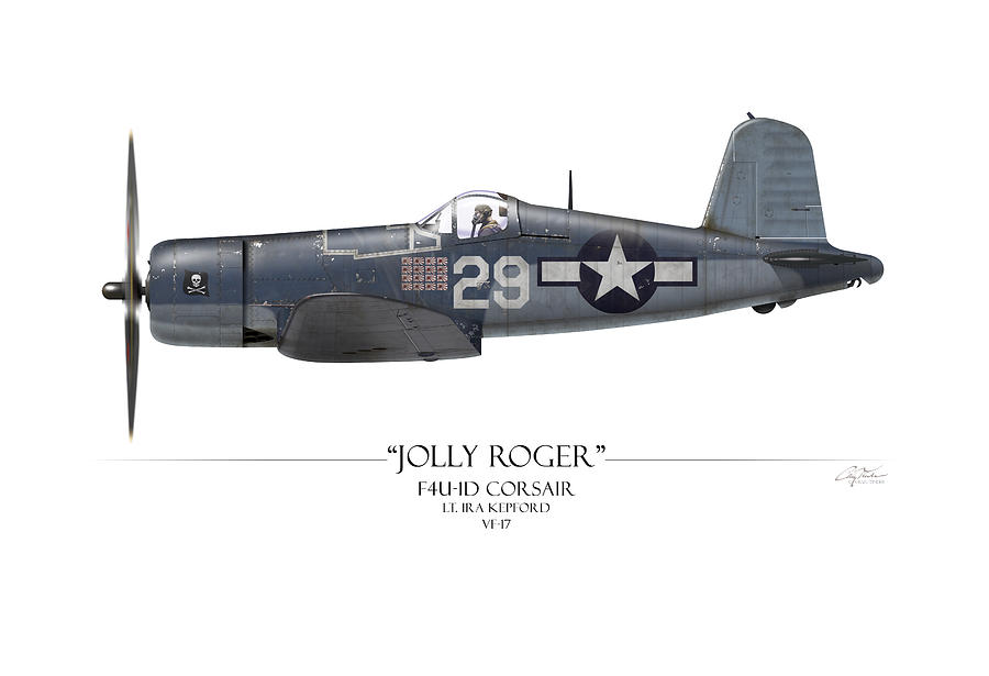 Ira Kepford F4u Corsair - White Background Painting