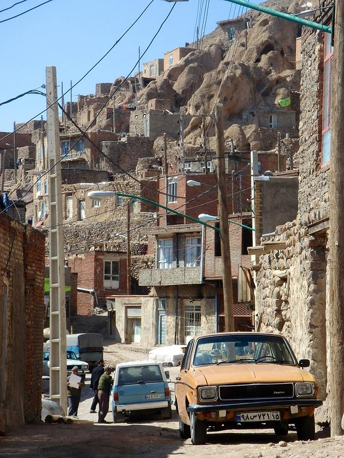 Iran Kandovan Cars And Wires Photograph  - Iran Kandovan Cars And Wires Fine Art Print