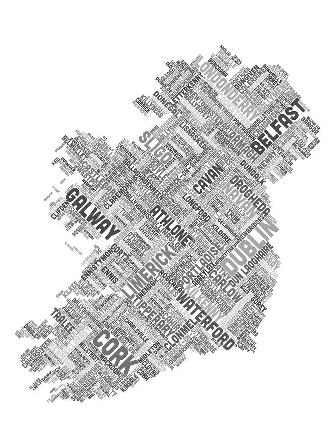 Ireland Eire City Text Map Digital Art