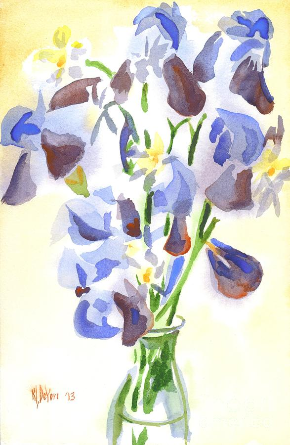 Irises Aglow Painting  - Irises Aglow Fine Art Print