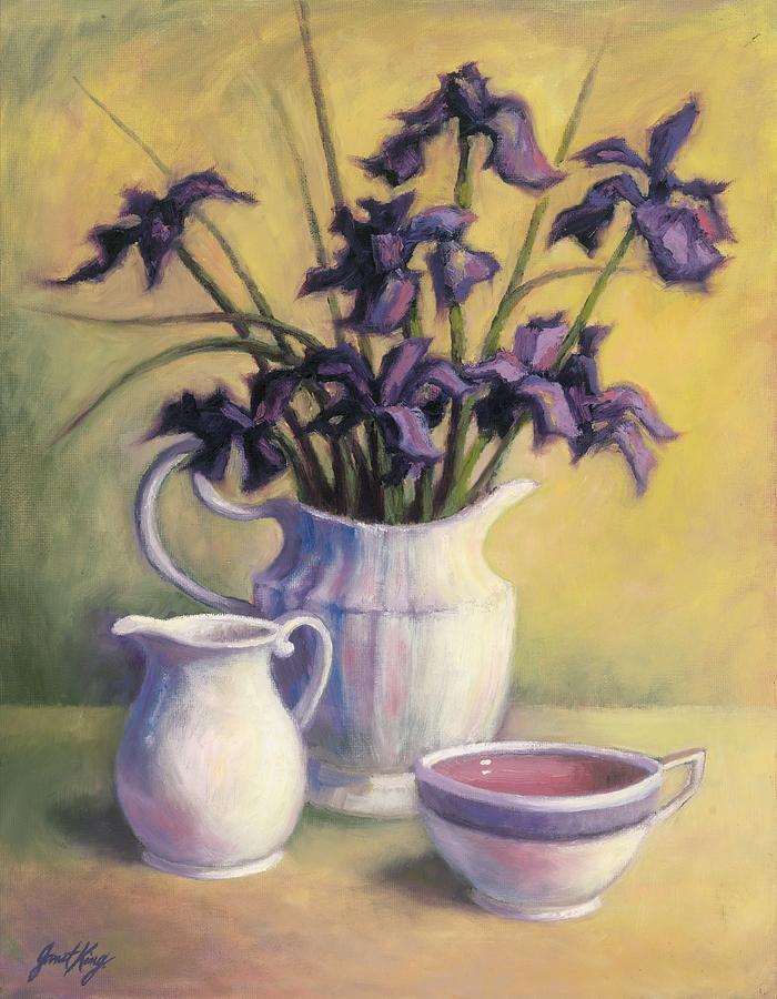 Irises And Herbal Tea Painting