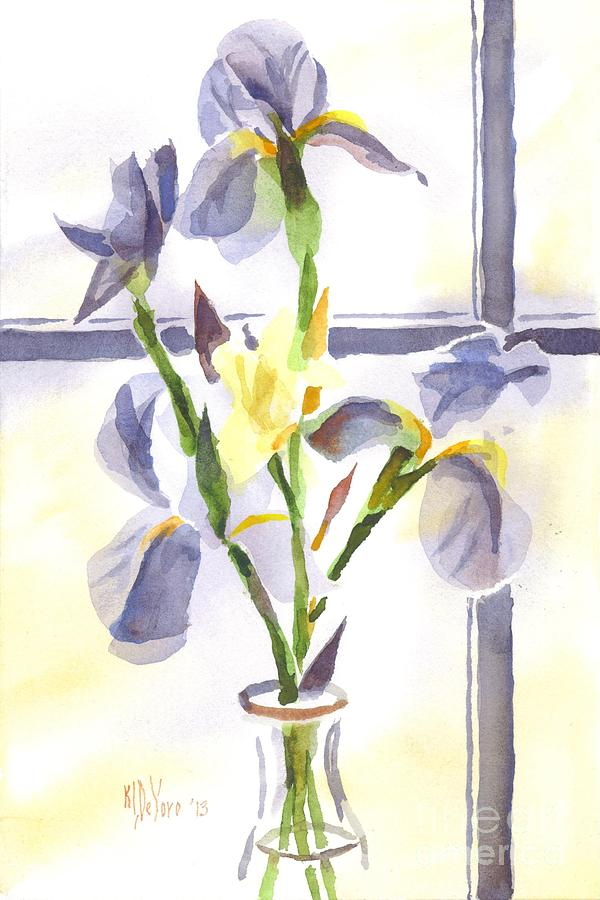 Irises In The Window II Painting