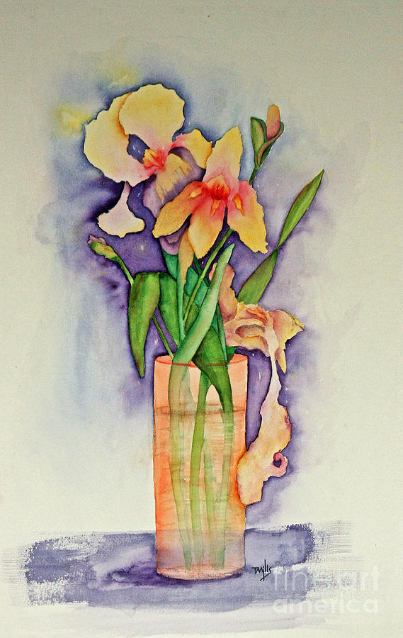 Watercolor Painting - Irises by Terri Mills