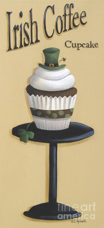 Irish Coffee Cupcake Painting  - Irish Coffee Cupcake Fine Art Print
