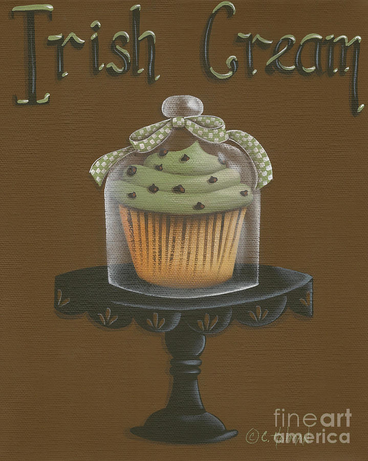 Irish Cream Cupcake Painting  - Irish Cream Cupcake Fine Art Print