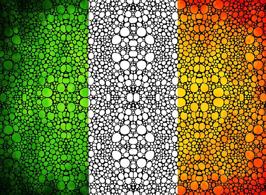 Irish Flag - Ireland Stone Rockd Art By Sharon Cummings Painting