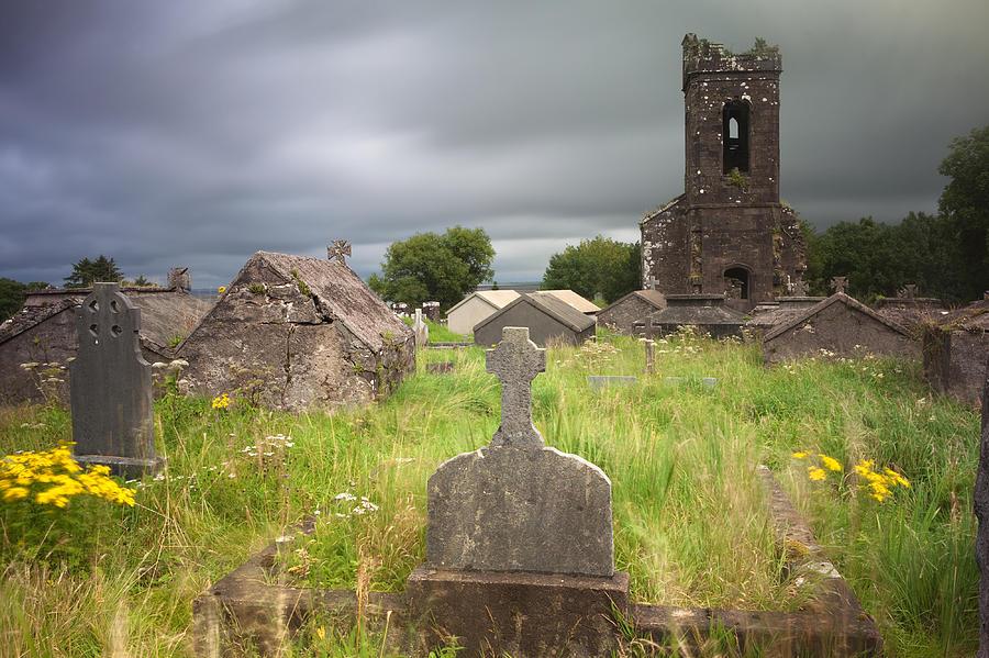 Irish Graveyard Cemetary Dark Clouds Photograph