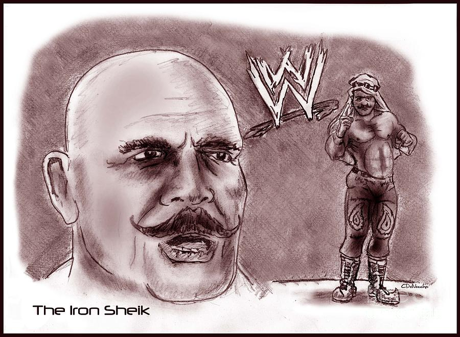 Sheiky Baby Drawing - Iron Sheik by Chris  DelVecchio
