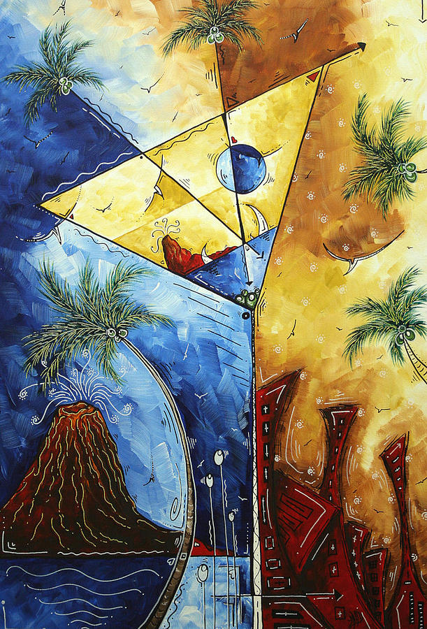 Tropical Painting - Island Martini  Original Madart Painting by Megan Duncanson