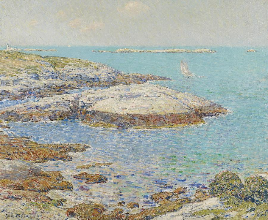 New England; America; American; Landscape; View; Coast; Coastal; Seascape; Us; Usa; United States; New Hampshire; Maine; Summer; Summertime; Isles Of Shoals; Island; Islands; Sailing Boat; Sails; Lighthouse; Rocks; Rocky; Shore; Shoreline; Impressionism; Impressionist; Sea Painting - Isles Of Shoals by Childe Hassam