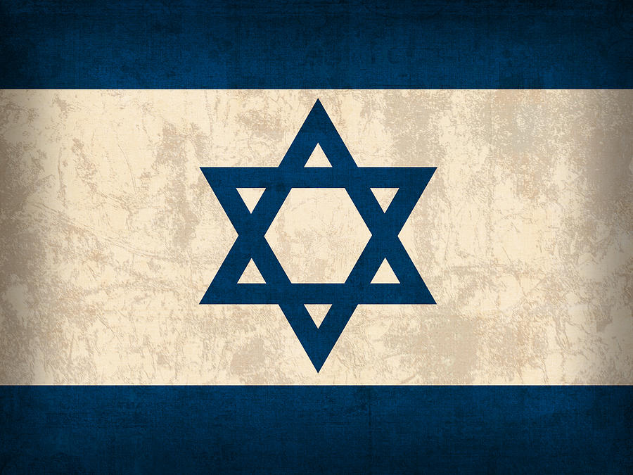 Israel Flag Vintage Distressed Finish Mixed Media  - Israel Flag Vintage Distressed Finish Fine Art Print