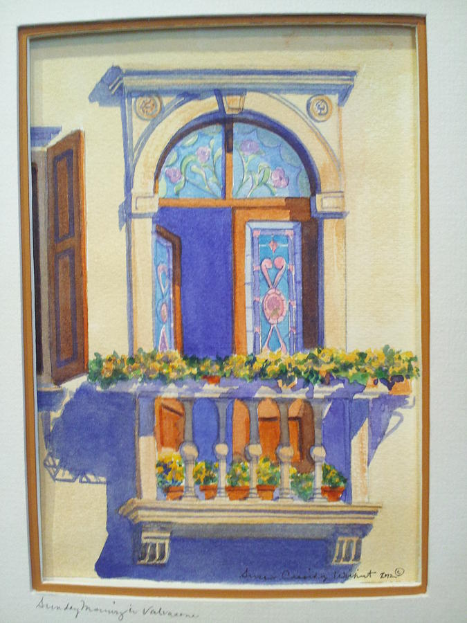Italian balcony in spring painting by susan wilhoit for Balcony in italian