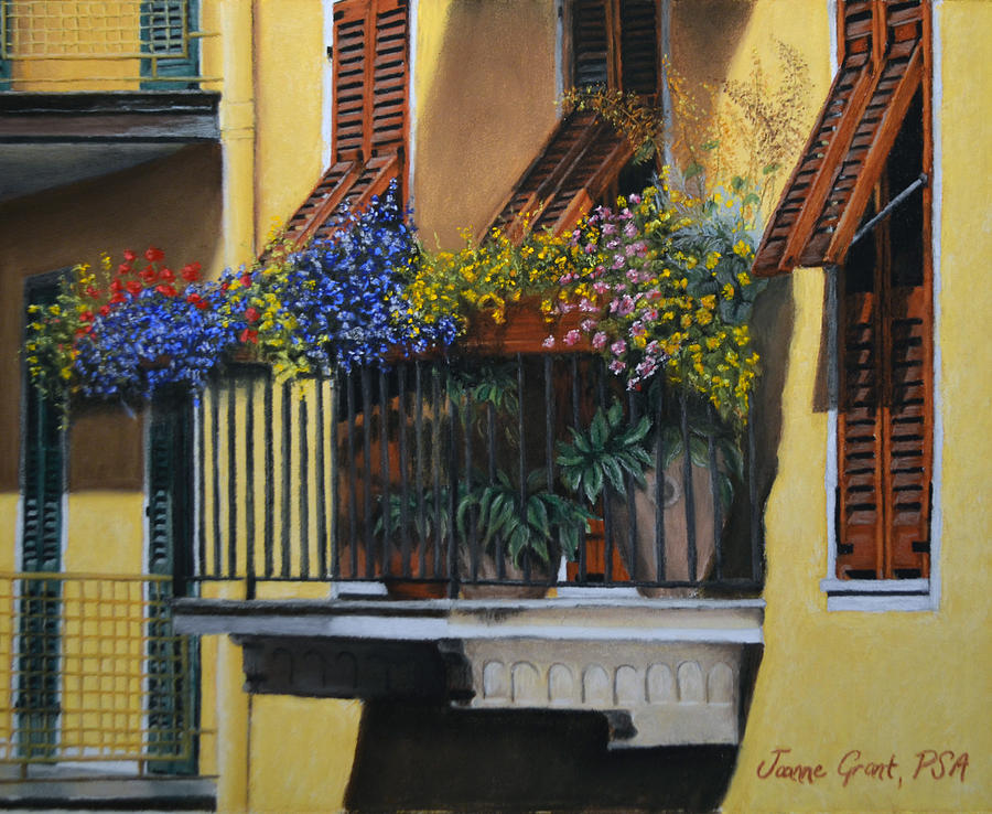 Italian balcony painting by joanne grant for Italian balcony