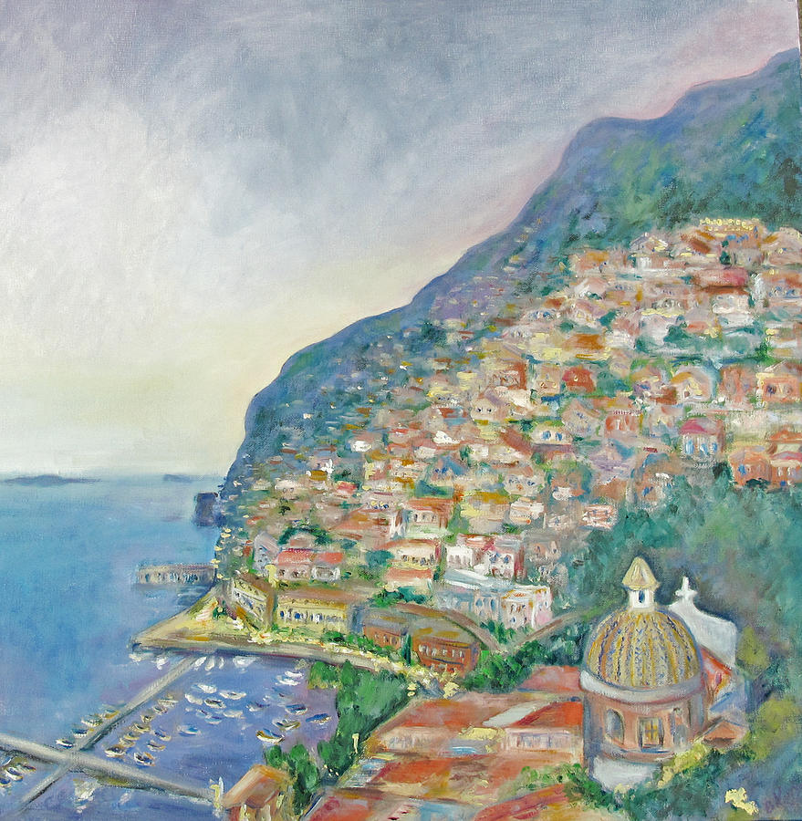 Italian Coast At Dusk Painting