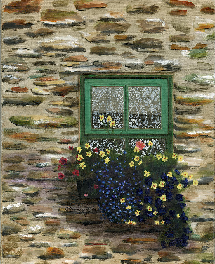 Original Oil On Canvas By Cecilia Brendel Italy Italian Lace Curtains Window Box Flowers Floral Rocks Rock Wall Brick Stone Jesus Mary Joseph Blessed Yellow Blue Flowers Painting - Italian Lace Window Box by Cecilia Brendel