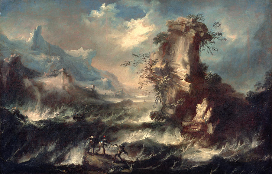 Italian Seascape With Rocks And Figures Painting