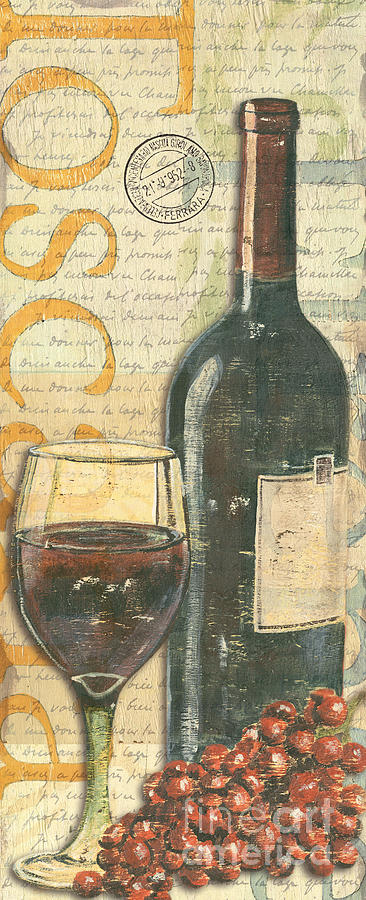 Italian Wine And Grapes Painting  - Italian Wine And Grapes Fine Art Print