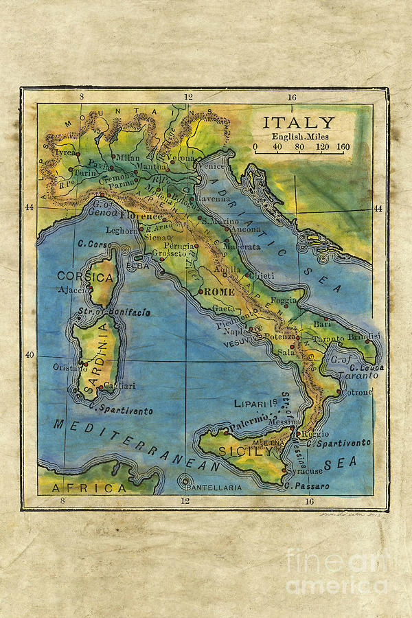 Italy 1906 Hand Painted Map Painting By Lisa Middleton