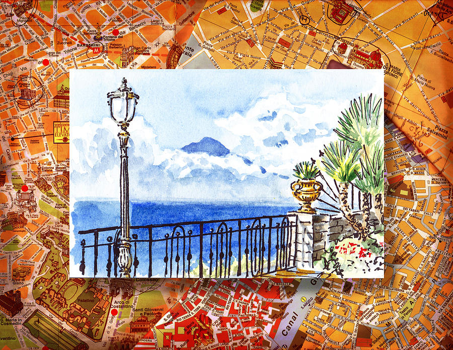 Italy Sketches Sorrento View On Volcano Vesuvius  Painting