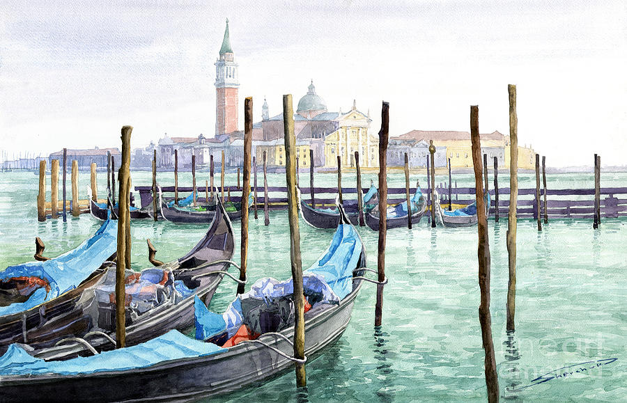 Italy Venice Gondolas Parked Painting