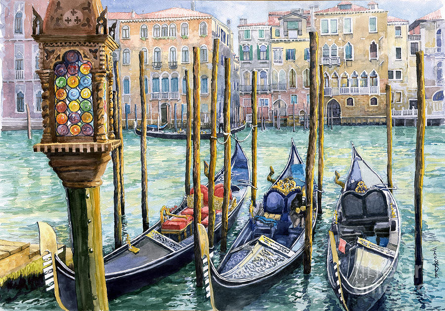 Watercolor Painting - Italy Venice Lamp by Yuriy Shevchuk