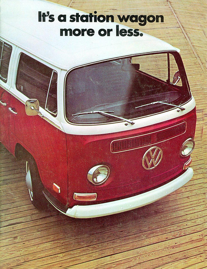 Its A Station Wagon More Or Less - Vw Camper Ad Digital Art  - Its A Station Wagon More Or Less - Vw Camper Ad Fine Art Print