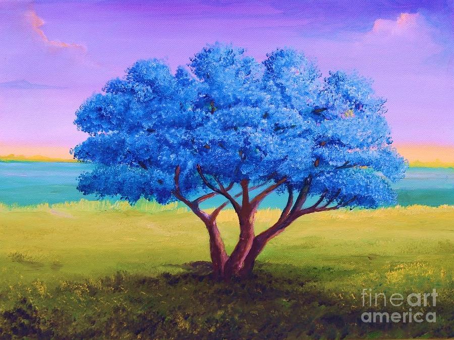Jacarandas Tree Or Flamboyan Painting by Alicia Maury