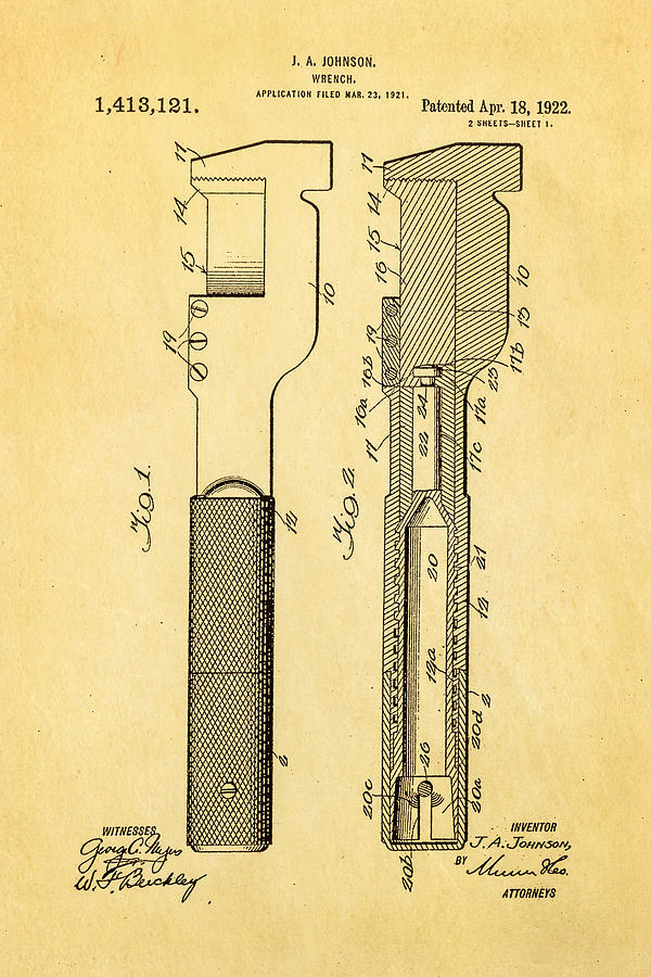 Engineer Photograph - Jack Johnson Wrench Patent Art 1922 by Ian Monk