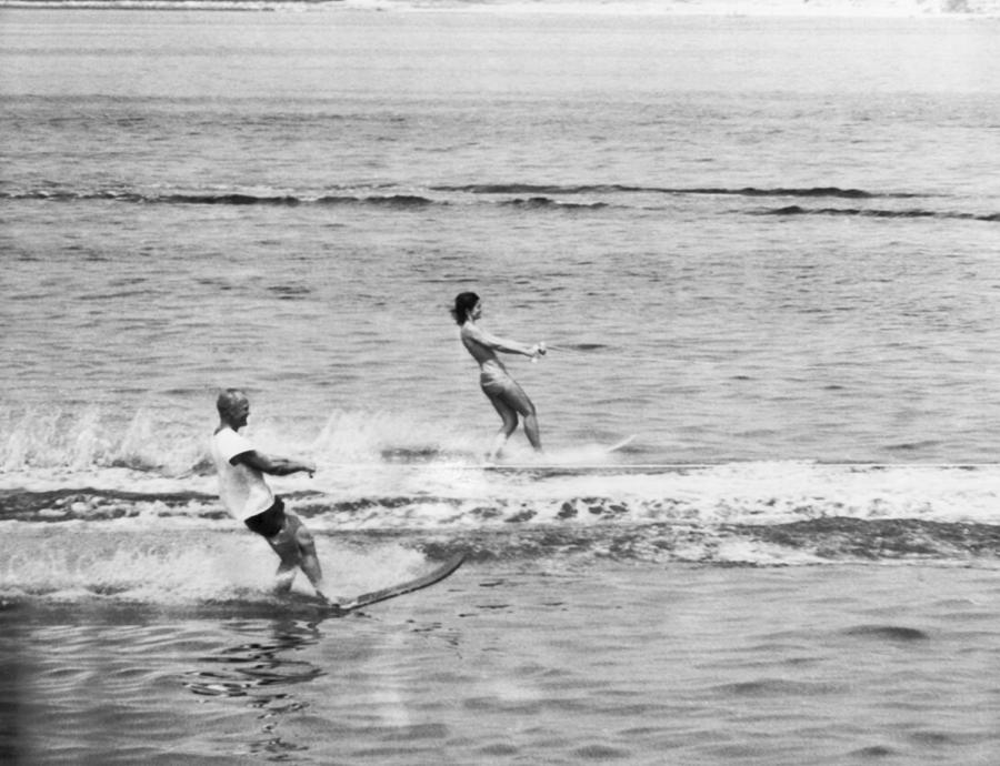 1962 Photograph - Jackie & John Glenn Water Ski by Underwood Archives