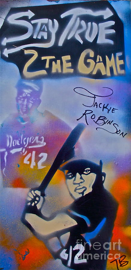 Jackie Robinson Painting - Jackie Robinson Blue by Tony B Conscious