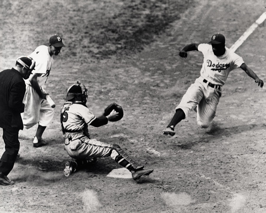 Jackie Robinson In Action Photograph