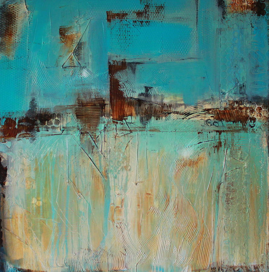 Abstract Painting In Blues And Rust Acrylic Textured Contemporary Painting - Jackson Bottom Wet Lands by Lauren Petit