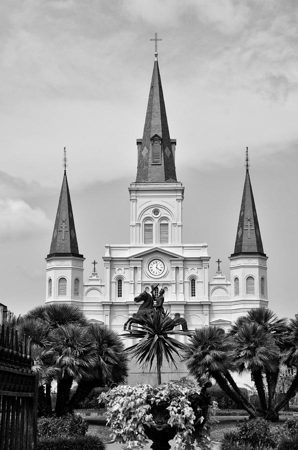 Jackson Square In Black And White Photograph